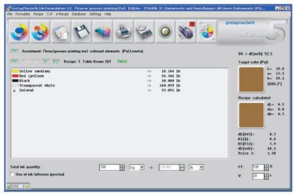 Software x-rite – ink formulation